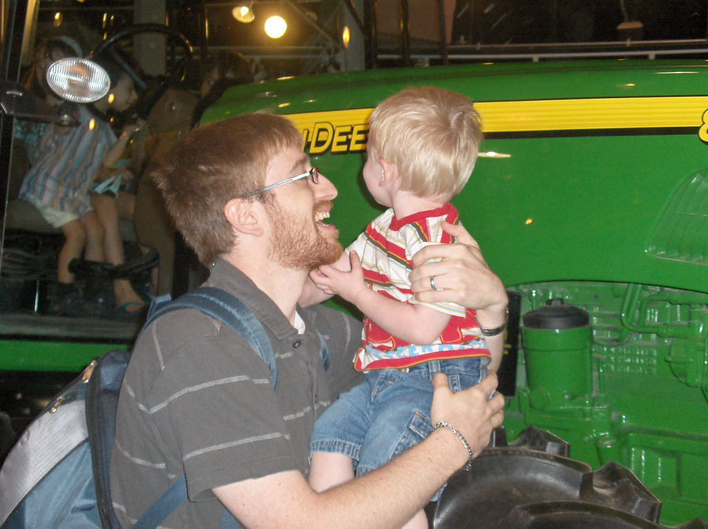 Elliott and Joshua Swenson at the tractor display at the Lincoln Park zoo in Chicago.  June 2008