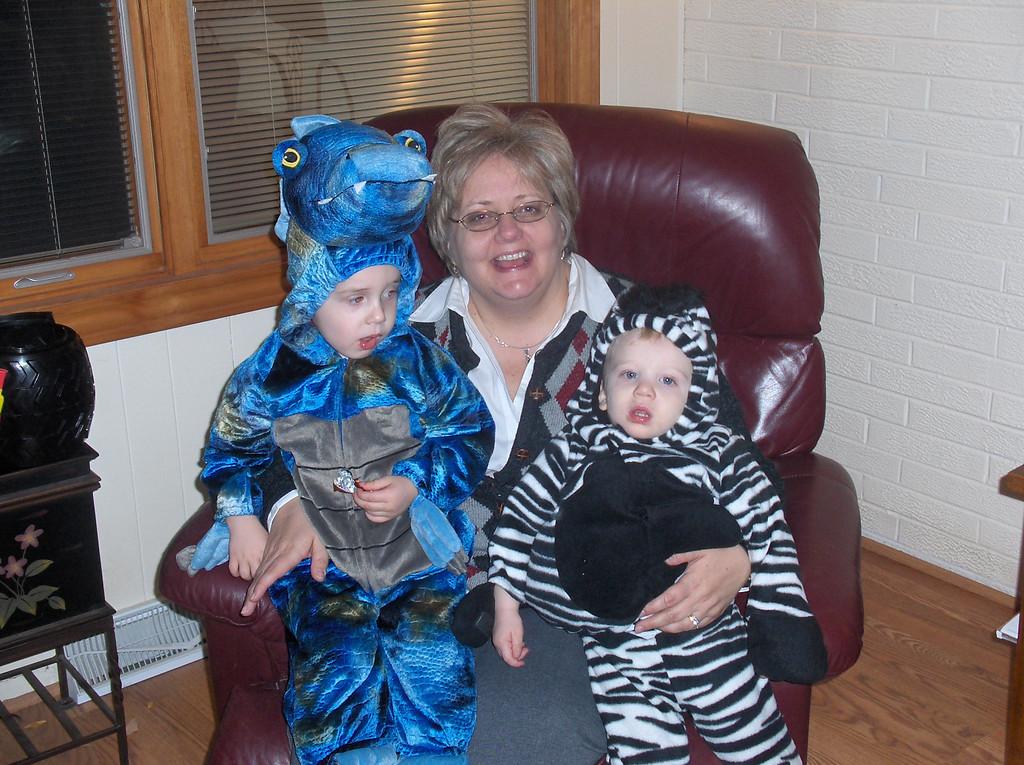 Elliott Swenson and Gavin Oldenburg with Grandma Lynn Oldenburg on Haloween. Oct. 2007 Age 18 months