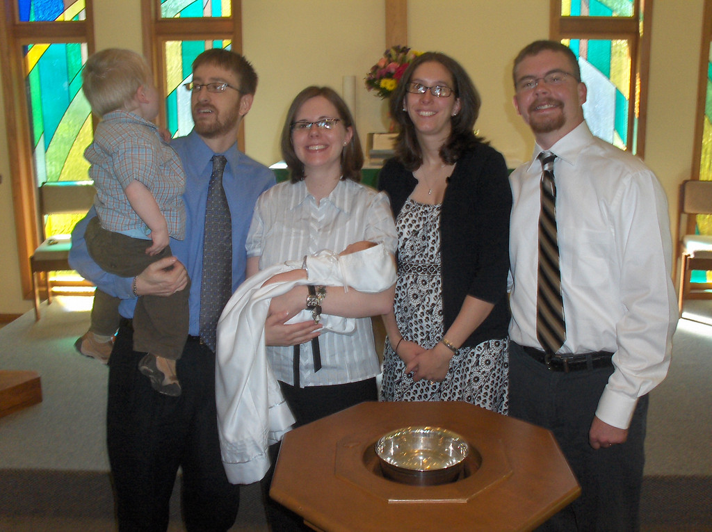 Soren Swenson's baptism.  Josh, Jenny, and Elliott with god parents Michael and Sarah Oldenburg, June 2008