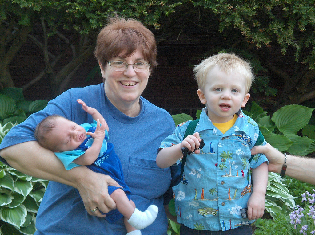 Soren and Elliott Swenson with Grandma JJ. May 2008