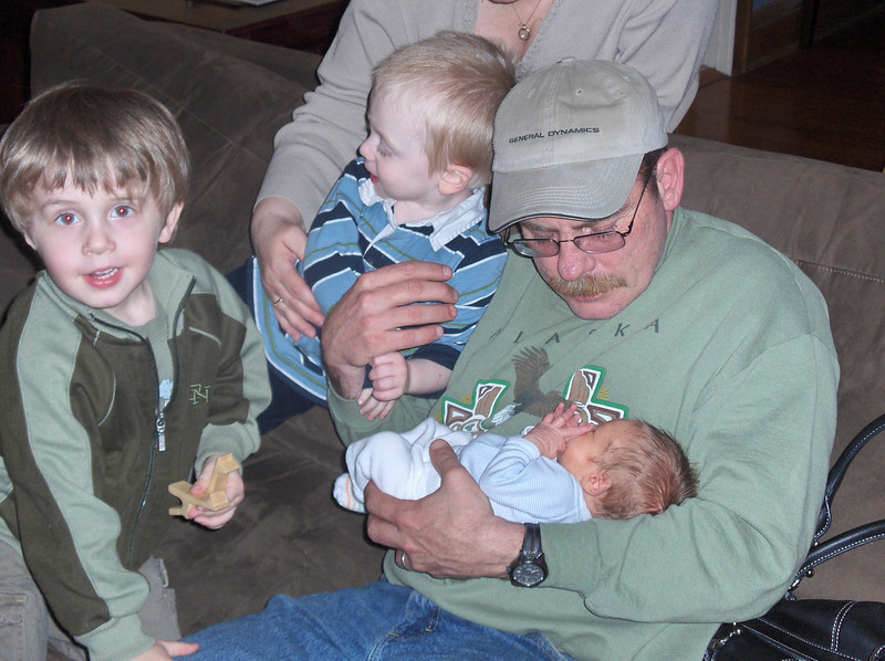 Soren Swenson with Elliott, Gavin and Grandpa Oldenburg, May 2008