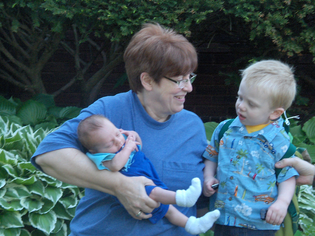 Soren and Elliott Swenson with Grandma JJ. May 2008