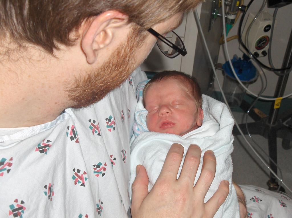 Soren Swenson with Josh.  Week 1 in the hospital.  May 2008.