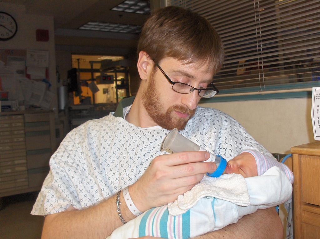 Soren Swenson with Josh.  Week 1 at the hospital.  May 2008.