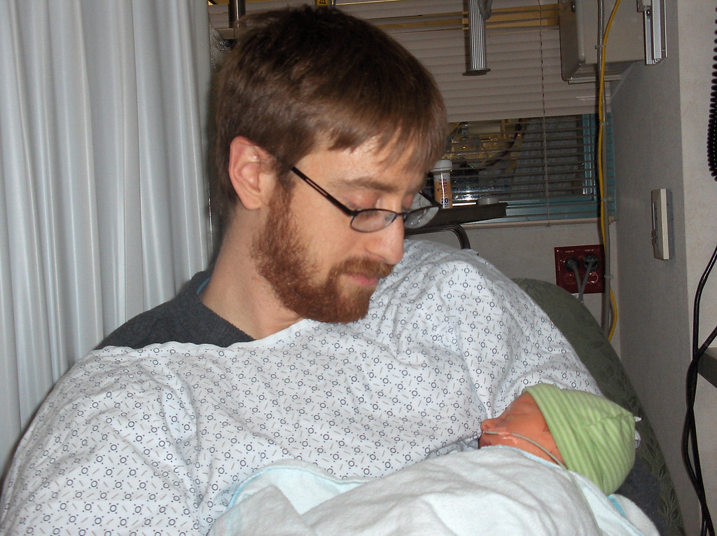 Soren Swenson with Josh.  2 days old in the hospital.  April 26th, 2008
