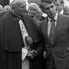 Photograph of Paul Tsongas greeting Pope John Paul II at Logan Airport