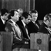 Photograph of Paul E. Tsongas, Senator Edward Kennedy with others at Funeral of Speaker McCormack