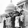 Photograph of Paul E. Tsongas with summer interns