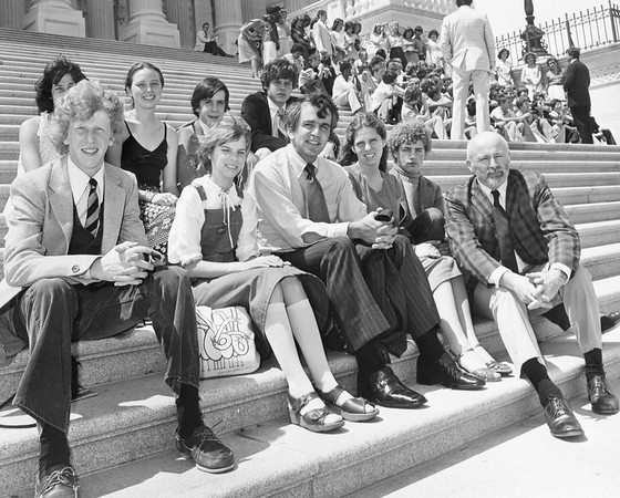 Photograph of Paul E. Tsongas with Williamstown Pine Cobble School on Capitol steps