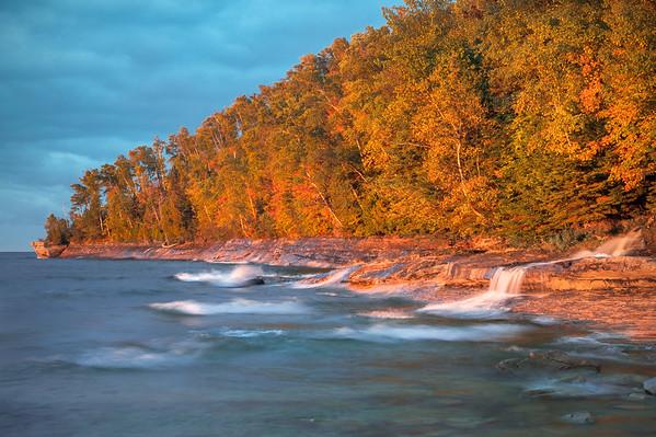 Elliot Falls at Sunset, Pictured Rocks National Lakeshore, MI