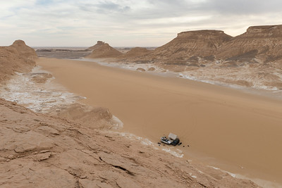Expedition camp at the Aquabat desert part of the White Desert National Park in Egypt