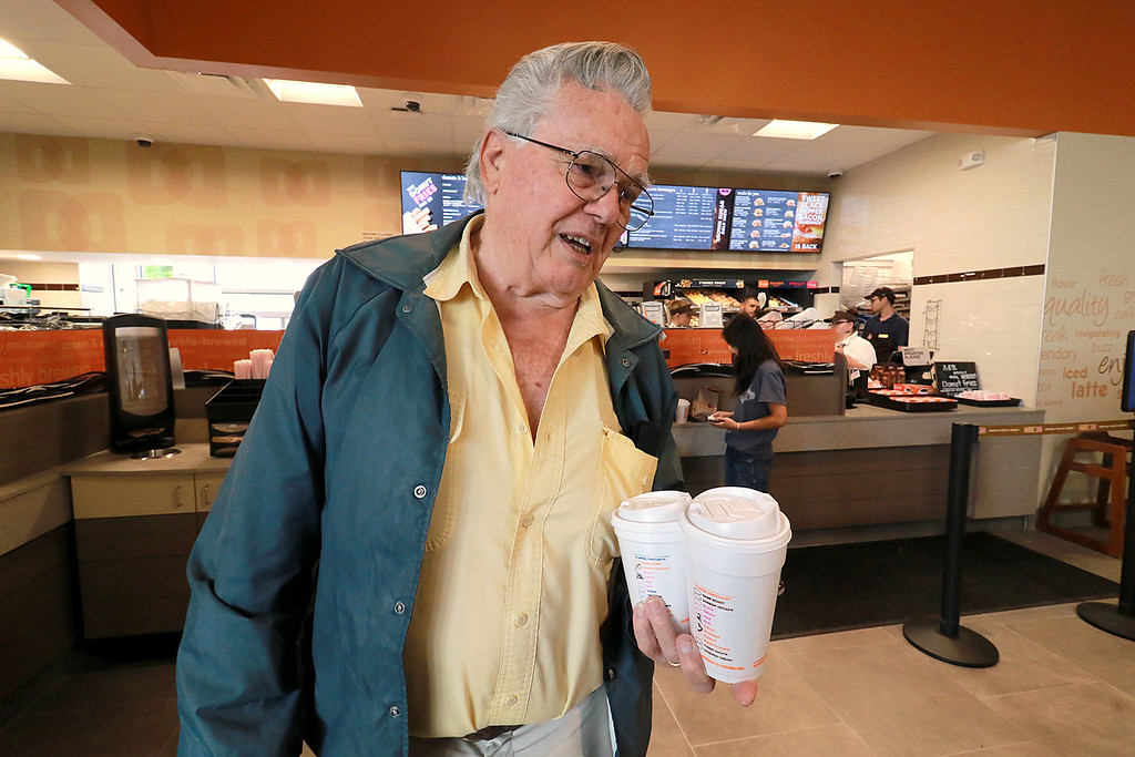 . Ashburnham\'s newly-built Alltown convenience store opened to the public on Thursday, August 23, 2018. Tony Wagner from Gardner talks about how he likes the new store after ordering some coffee from the Dunkin Donuts located in the store. SENTINEL & ENTERPRISE/JOHN LOVE