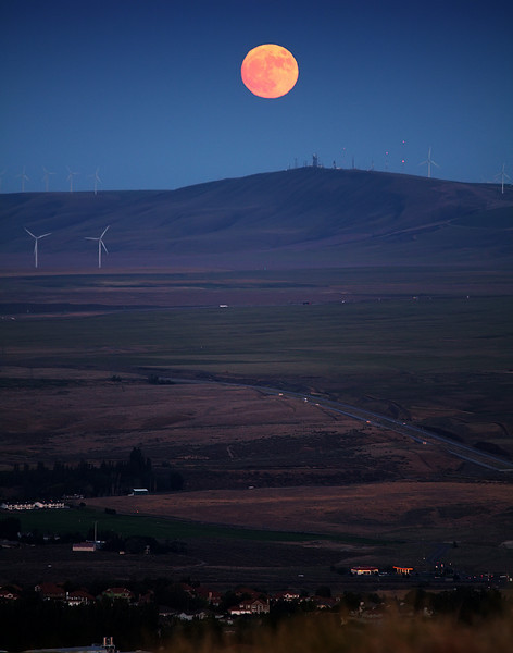 Rising Moon over Jump Off Joe Butte south of Tri-Cities, Washington