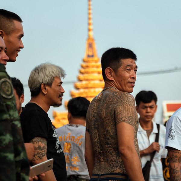 At the Sak Yant magic tattoo festival, Wat Bang Phra, Nakhon Pathom, Thailand, March 3, 2018