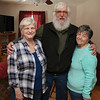 Mary Parke-Plummer and her sister Myrle Phaneuf, better known as Jinxie on right, stand with their brother Ralph Whipple Newell, better known as Whip, on Monday morning. The sisters where reunited with their brother after 68 years. SENTINEL & ENTERPRISE/JOHN LOVE