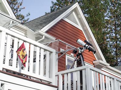 Astrophotography rig on balcony 20140217