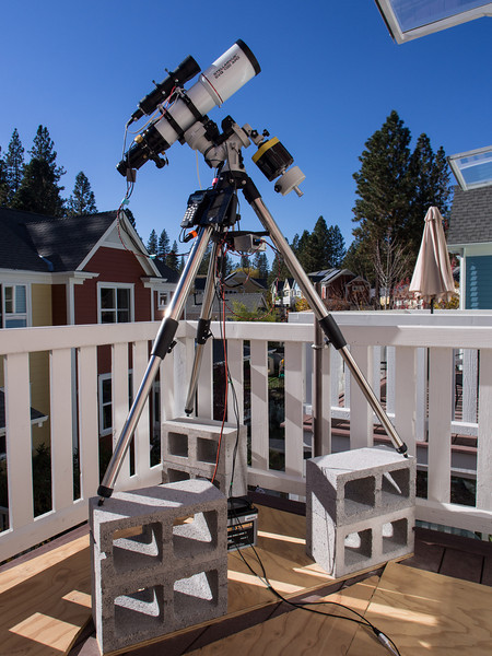 New telescope under blue sky and nighttime soup