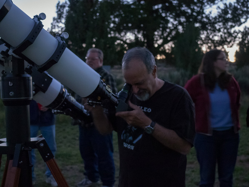 Really, it's dark out but ISO 5000 and a slow shutter speed shows Vic preparing the 130 for viewing Saturn.