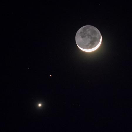 Venus, Mars, Moon conjunction, Feb. 20, 2015