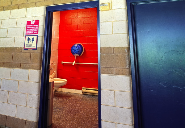 WASHINGTON, DC - SEPTEMBER 22:  Open door to a public restroom during a MLB game between the Washington Nationals and the Philadelphia Phillies on September 22, 2020, at Nationals Park, in Washington DC.