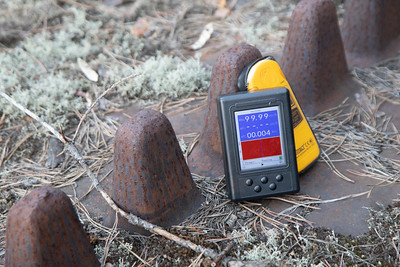 This discarded piece of military machinery likely used in the liquidation of the accident gave me the highest reading in the zone & maxed out my radiometer.  The air in the zone itself, even nearby the reactor, gave low readings.  However, certain objects & surfaces have very high readings.  Being in their proximity is not dangerous, but probably would not be a good idea to go around licking them, if that's your thing.  :)