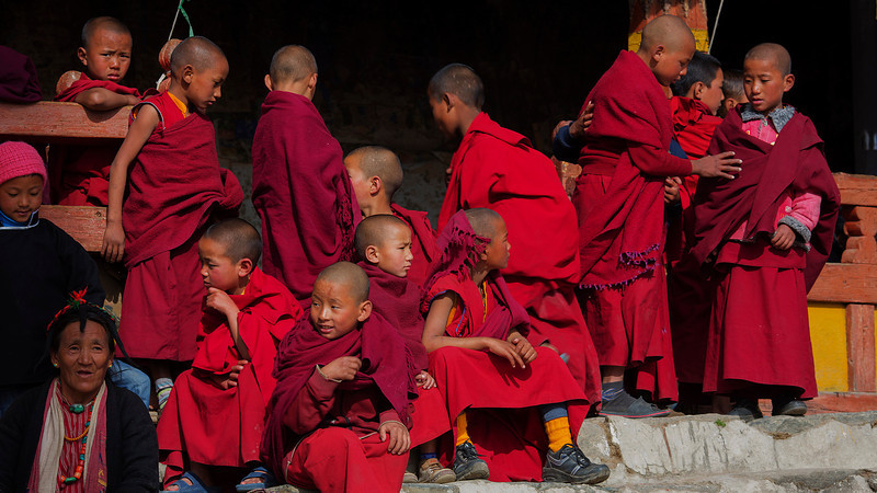Young monks in the audience