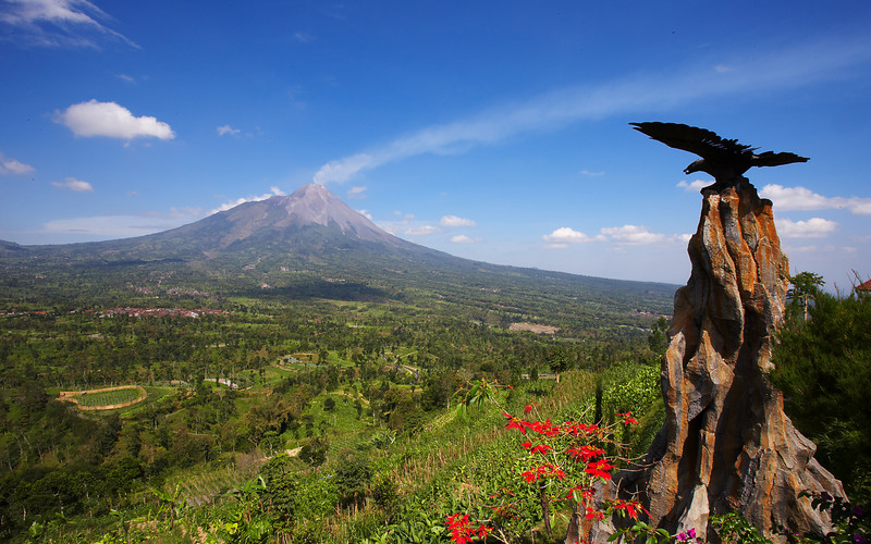 Merapi and eagle.  From the lookout point - no, the eagle isn't real, it's a carving.