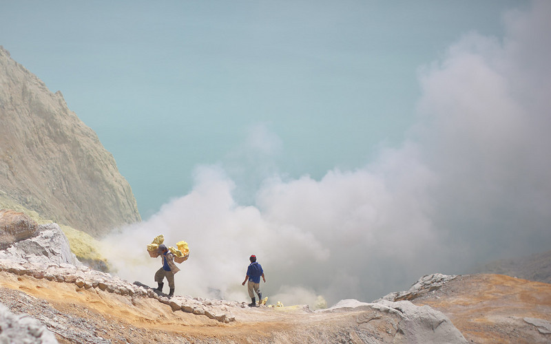 The best job is carrying the sulphur out of the crater.  It means you have less contact with the fumes, you get paid more (up to $10/day), but you have to carry 50-60kg per load.  Few people can survive that for very many years.