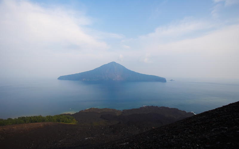 A remnant of Krakatau.  Taken from the new island of Anak Krakatau