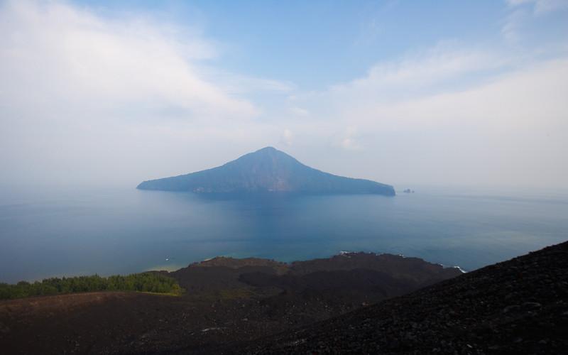 A remnant of Krakatau.  Taken from the new island of Anak Krakatau