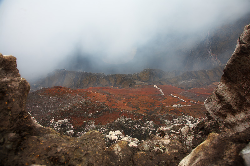 The view down into the crater