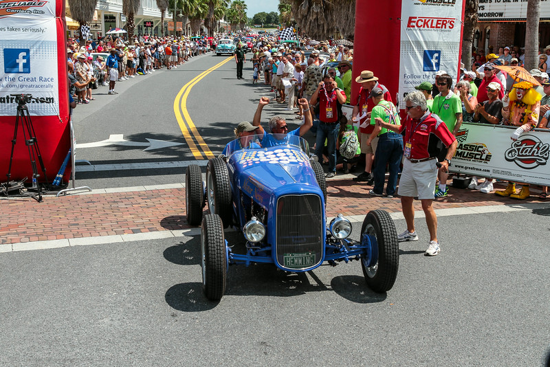 Remember this is a timed rally event, the first across the finish line is not always the overall winner.  The team of Jim Menneto and Mari Parizo, in their 1932 Ford Speedster came across first, but finished 25th overall.