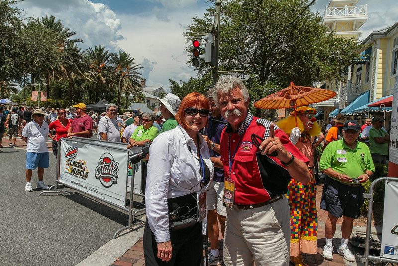 Barbara Vesco, Head of the Villages Entertainment Department and Corky Coker, primary sponsor and owner of Coker Tire, talking over last minute details, minutes before the first vehicle came across the finish line.