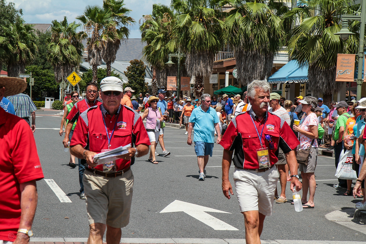 "Brian Goudge, aka ""MotorMouth"" on the left and Corky Coker on the right head to the finish line to start the activities.   Brian will be announcing the results as they come across the finish line."