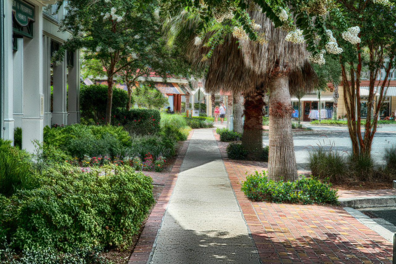 The streets of Sumter Landing, in The Villages are quiet and peaceful now.