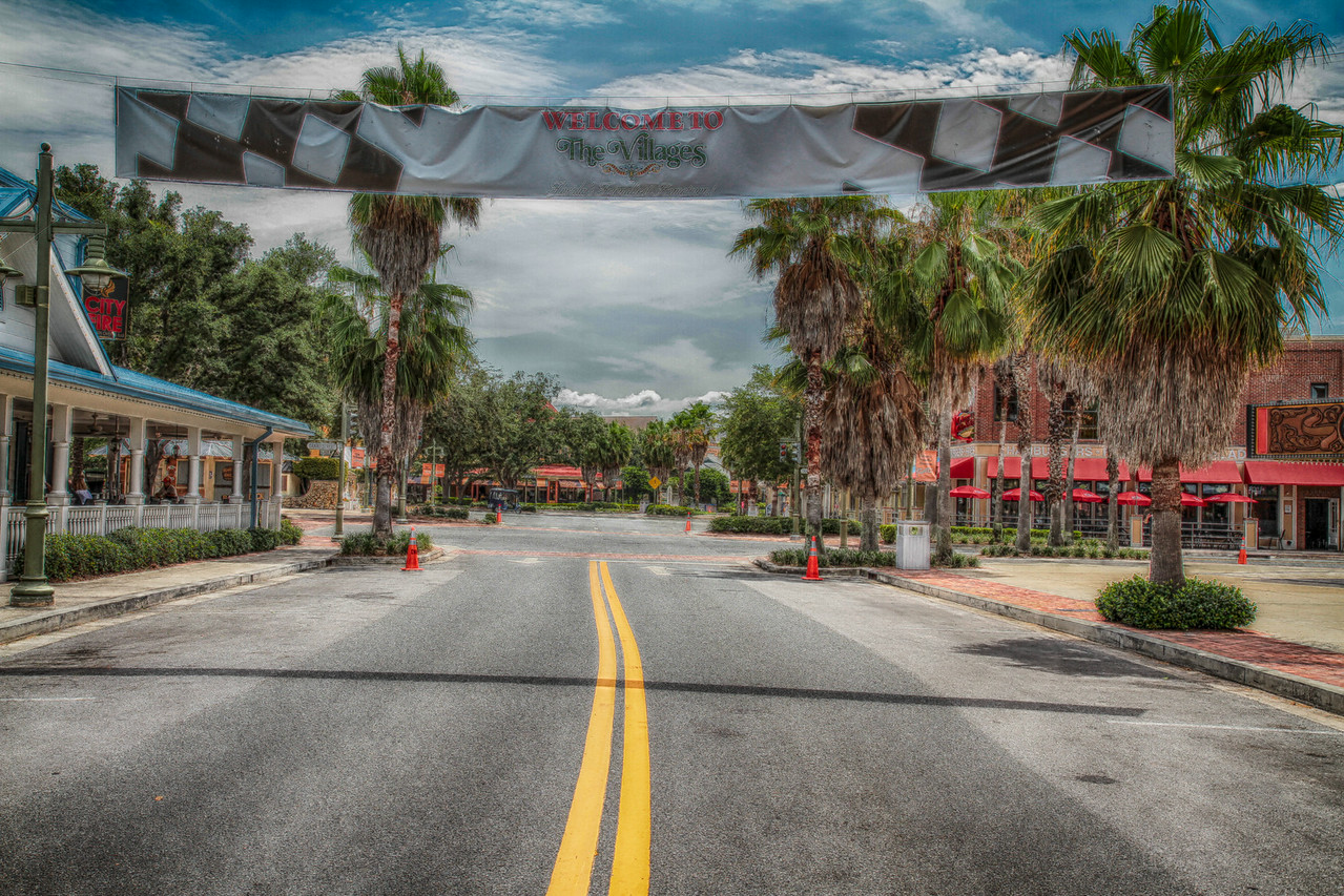 "The streets are cleared and ready for the thousands of people to descend upon Sumter Landing in The Villages, Florida and the finish to the 2014 ""Great Race""."