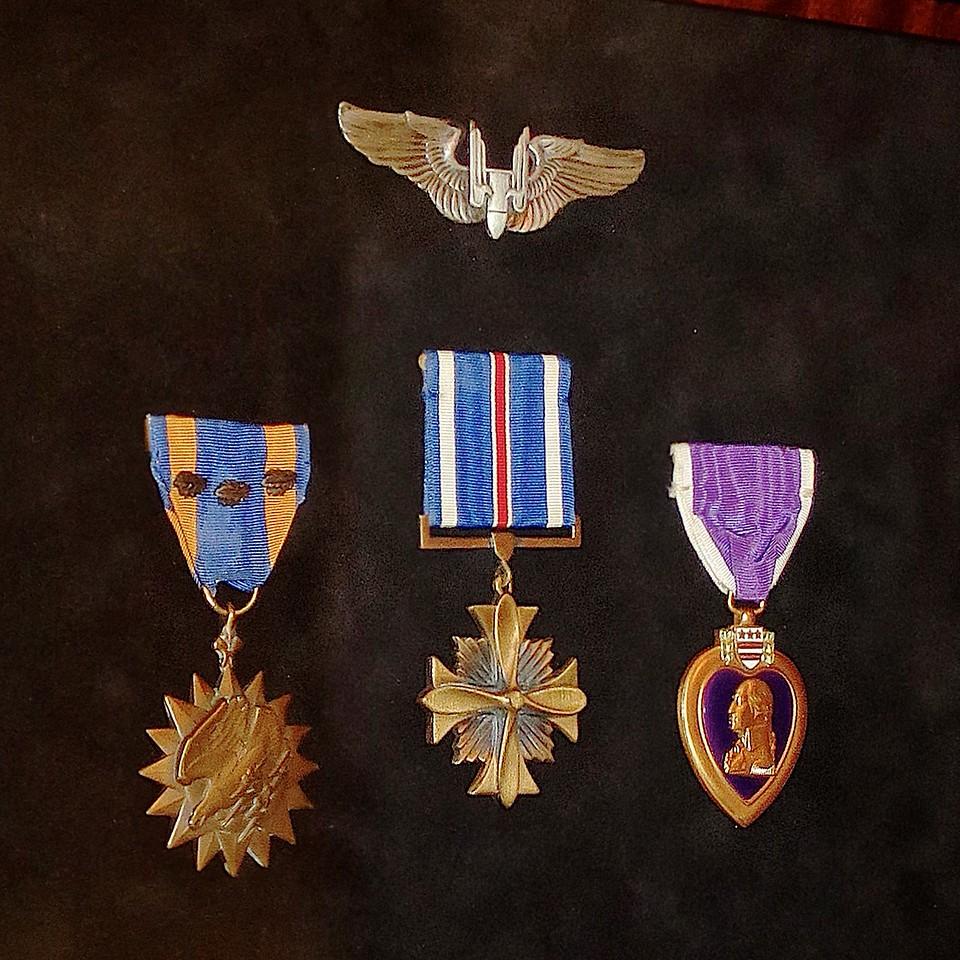 Gunner's Wings,  Air Medal (+ 3 OLCs),  DFC,  Purple Heart