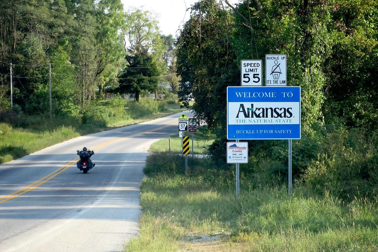 driving south (into northern Arkansas)