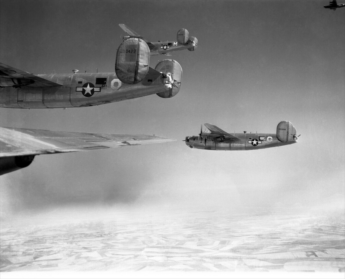 The B-24 Liberator at the very top of this image is the plane in which T/Sgt Tom White later flew his final mission on Sept. 24, 1944