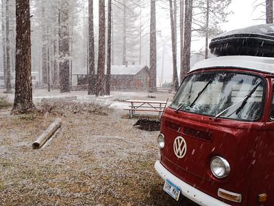 SNOWING?  IN MAY?  Lake Tahoe, California