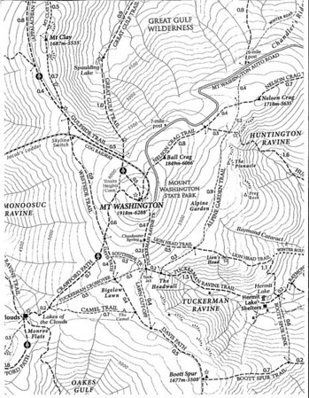 "Map of Mt. Washington and the various trails on the mountain.  The Alpine Garden Trail can be seen just to the left of ""Mt. Washington"". The lines on the map are contour lines. Each line indicates a change in height of 100 feet."