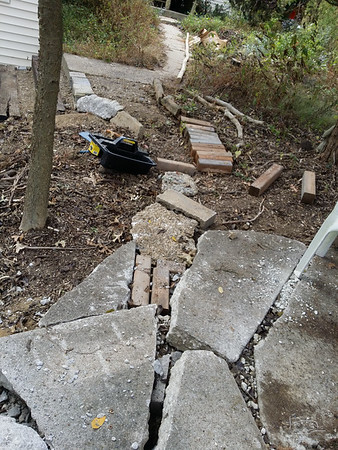 working on garden path