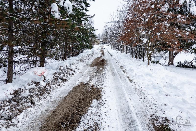 Freshly plowed driveway
