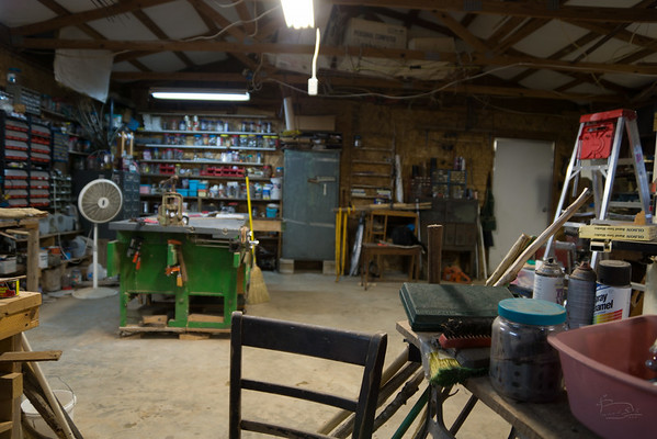 Amazingly neat interior shot of workshop, much lower level of clutter than normal.