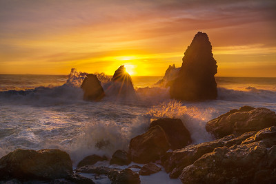 Setting Sun Over Sea Stacks