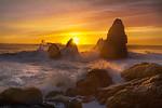 Setting Sun Over Sea Stacks