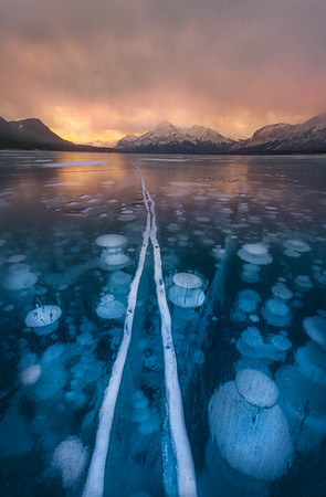 Sunset Over Abraham Lake