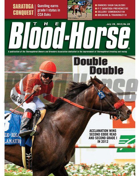 July 28, 2012 Issue 30 Cover of The Blood-Horse with Acclamation winning the Eddie Read.<br /> <br /> © The Blood-Horse