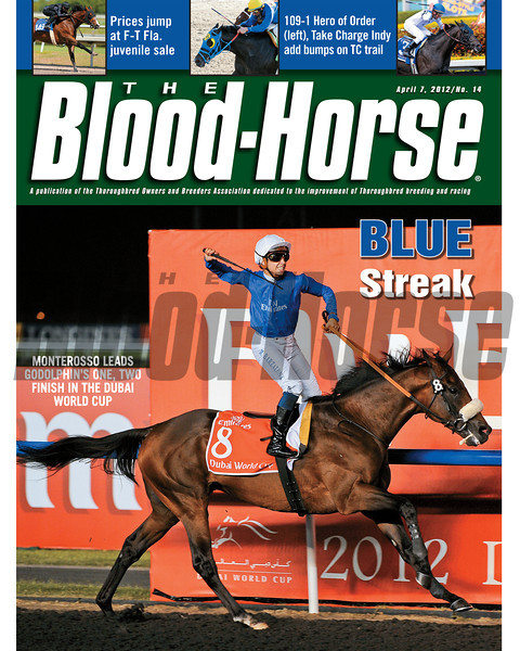 April 7, 2012 Issue 14 Cover of The Blood-Horse with Monterosso winning the Dubai World Cup.<br /> <br /> © The Blood-Horse