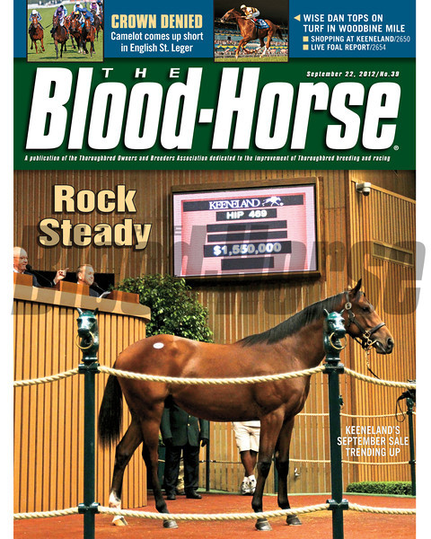 September 22, 2012 Issue 39 Cover of The Blood-Horse featuring the Keeneland September Sale, Wise Dan in the Woodbine Mile, and Camelot in the English St. Leger<br /> <br /> © The Blood-Horse
